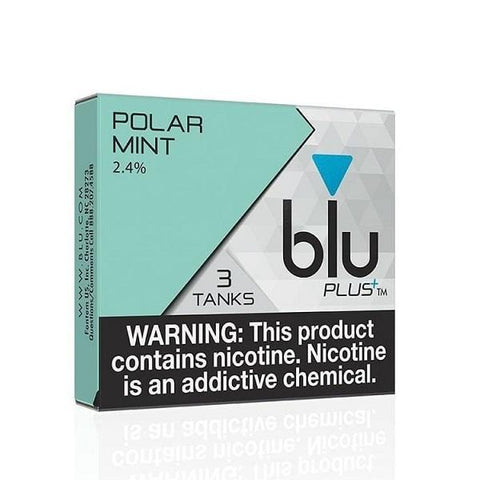 Blu Plus+ 1.0mL Cartomizer Tanks - 2.4% Nicotine - Polar Mint (3 Pack) - vapersandpapers.com