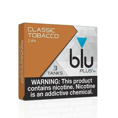 Blu Plus+ 1.0mL Cartomizer Tanks - 2.4% Nicotine - Classic Tobacco (3 Pack) - vapersandpapers.com