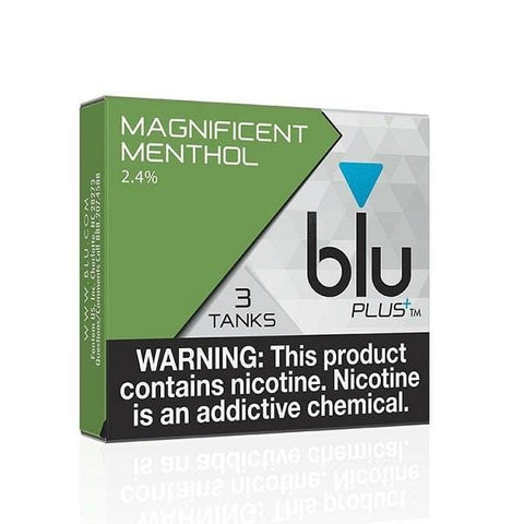 Blu Plus+ 1.0mL Cartomizer Tanks - 2.4% Nicotine - Magnificent Menthol (3 Pack) - vapersandpapers.com