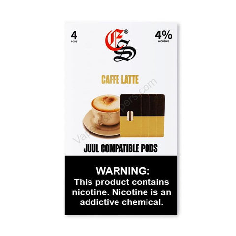 eonsmoke JUUL Compatible Pod Tanks - 4% or 6% Salt Nicotine - Caffè Latte (4 Pack) - vapersandpapers.com
