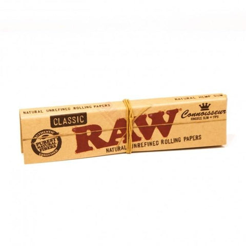 RAW Classic Connoisseur Kingsize Slim Rolling Paper w/ Tips - 32-Leaf Single Booklet - vapersandpapers.com