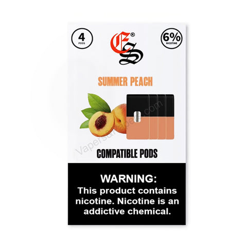 eonsmoke 1.0mL Juul Compatible Pod Tanks - 4% or 6% Salt Nicotine - Summer Peach (4 Pack) DISCONTINUED -  LIMITED SUPPLY - vapersandpapers.com
