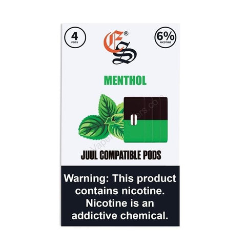 eonsmoke 1.0mL Juul Compatible Pod Tanks - 4% or 6% Salt Nicotine - Menthol (4 Pack) DISCONTINUED -  LIMITED SUPPLY - vapersandpapers.com