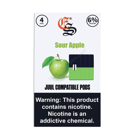 eonsmoke 1.0mL Juul Compatible Pod Tanks - 4% or 6% Salt Nicotine - Sour Apple (4 Pack) DISCONTINUED -  LIMITED SUPPLY - vapersandpapers.com