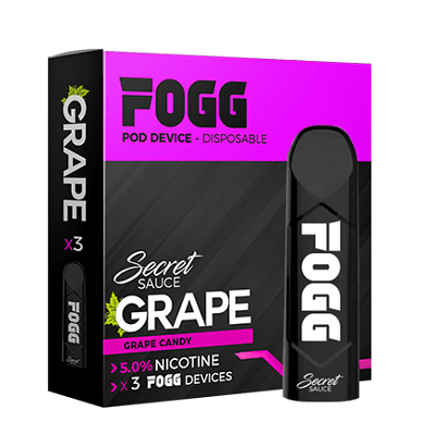 FOGG 1.2mL Disposable Pod Vape - 5% Salt Nicotine - Grape Candy (3 Pack) - vapersandpapers.com
