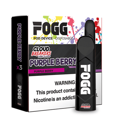 FOGG 1.2mL Disposable Pod Vape - 5% Salt Nicotine - Purple Berry (3 Pack) - vapersandpapers.com