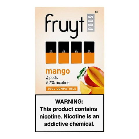 "Fruyt JUUL Compatible Pod Tanks - 6.2% Salt Nicotine - Mango (4 Pack) DISCONTINUED -  Search ""FRUYT STIK"" for Similar Product - vapersandpapers.com"