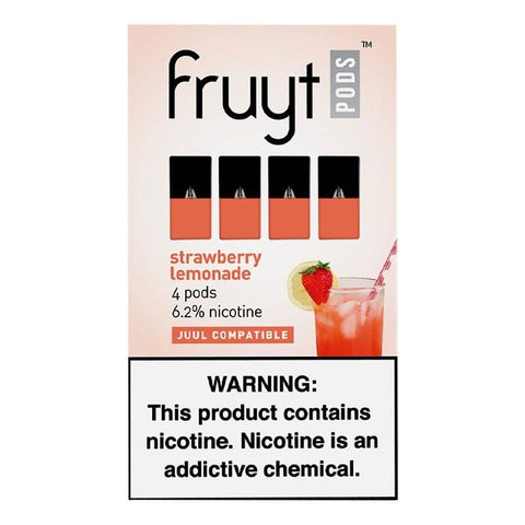 Fruyt JUUL Compatible Pod Tanks - 6.2% Salt Nicotine - Strawberry Lemonade (4 Pack) DISCONTINUED -  LIMITED SUPPLY - vapersandpapers.com