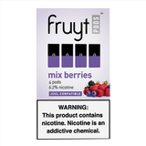 Fruyt JUUL Compatible Pod Tanks - 6.2% Salt Nicotine - Mixed Berries (4 Pack) DISCONTINUED -   LIMITED SUPPLY - vapersandpapers.com
