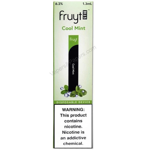 Fruyt (Fruty) STIK 1.3mL Disposable Pod Vape - 6.2% Salt Nicotine - Cool Mint (1 Pack) - vapersandpapers.com