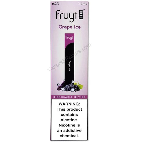 Fruyt (Fruty) STIK 1.3mL Disposable Pod Vape - 6.2% Salt Nicotine - Grape Ice (1 Pack) - vapersandpapers.com