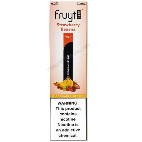 Fruyt (Fruty) STIK 1.3mL Disposable Pod Vape - 6.2% Salt Nicotine - Strawberry Banana (1 Pack) - vapersandpapers.com