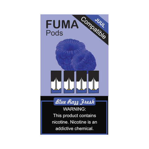 FUMA JUUL Compatible Pod Tanks - 5.5% Salt Nicotine - Blue Razz Fresh (4 Pack) - vapersandpapers.com
