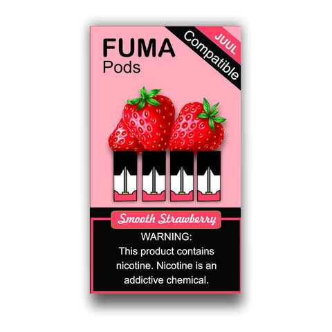 FUMA JUUL Compatible Pod Tanks - 5.5% Salt Nicotine - Smooth Strawberry (4 Pack) - vapersandpapers.com