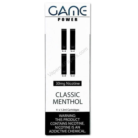 GAME POWER 1.2mL Cartomizer Tanks - 3.0% (30mg) Nicotine - Classic Menthol (4 Pack) - vapersandpapers.com