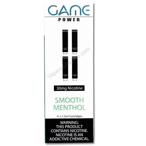 GAME POWER 1.2mL Cartomizer Tanks - 3.0% (30mg) Nicotine - Smooth Menthol (4 Pack) - vapersandpapers.com