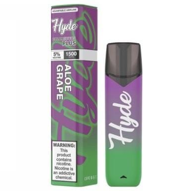 Hyde Color Plus Edition 5.0mL Disposable Pod Vape w/ Adjustable Airflow - 2.5% or 5% Salt Nicotine - Aloe Grape (1 Pack)