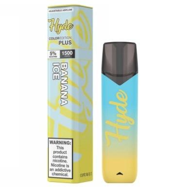 Hyde Color Plus Edition 5.0mL Disposable Pod Vape w/ Adjustable Airflow - 2.5% or 5% Salt Nicotine - Banana Ice (1 Pack)