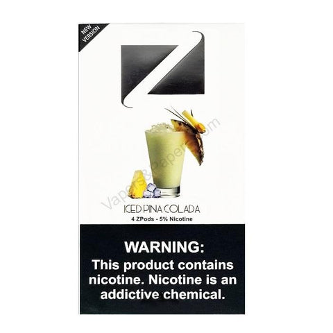 ZiiP JUUL Compatible 4% or 5% Salt Nicotine Pod Tanks - Iced Pina Colada (4 Pack) - vapersandpapers.com