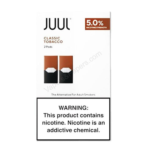 JUUL 0.7mL Pod Tanks - 3.0% or 5.0% Salt Nicotine - Classic Tobacco (2 Pack) - vapersandpapers.com