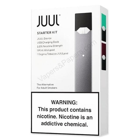 JUUL Starter Kit - Pod Vaporizer (Slate) w/ 2-Pack of JUUL Pods (5% Mint + 5% Virginia Tobacco) - vapersandpapers.com