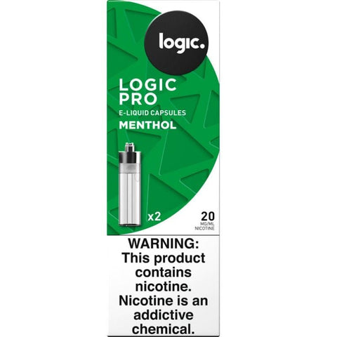 "LOGIC PRO 1.5mL Capsule Tanks - 1.8% (20mg) Nicotine - Menthol (2 Pack) DISCONTINUED - Search ""LOGIC"" for Similar Products - vapersandpapers.com"