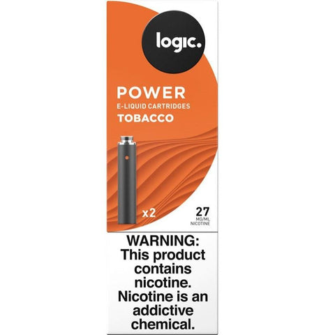 LOGIC Power Series 1.2mL Cartomizer Tanks - 2.4% (27mg) Nicotine - Tobacco Flavor (2 Pack) - vapersandpapers.com