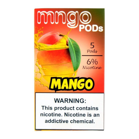 "mngo JUUL Compatible Pod Tanks - 6% Salt Nicotine - Mango (5 Pack) DISCONTINUED -  SEARCH ""MNGO STICK"" for Similar Product - vapersandpapers.com"