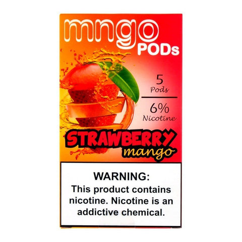 "mngo JUUL Compatible Pod Tanks - 6% Salt Nicotine - Strawberry Mango (5 Pack) DISCONTINUED -  SEARCH ""MNGO STICK"" for Similar Product - vapersandpapers.com"