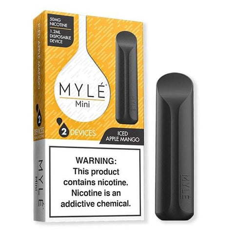 MYLE Mini 1.2mL Disposable Pod Vape - 2% or 5% Salt Nicotine - Iced Apple Mango (2 Pack) - vapersandpapers.com