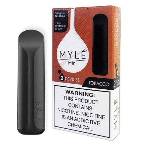 MYLE Mini 1.2mL Disposable Pod Vape - 2% or 5% Salt Nicotine - Tobacco (2 Pack)