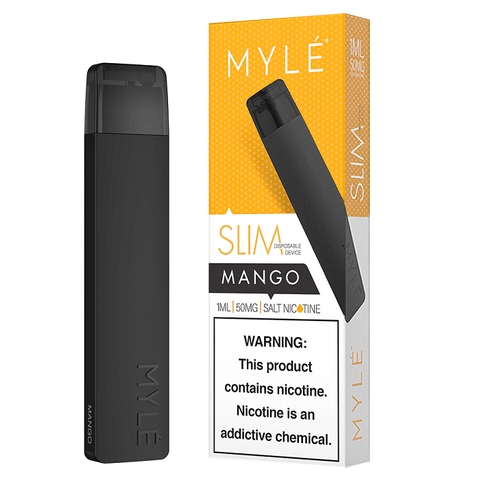 MYLE Slim (Mini 2) 1.2mL Disposable Pod Vape - 5% Salt Nicotine - Mango (1 Pack) - vapersandpapers.com