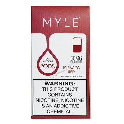 MYLE V3 0.9mL Pod Tanks - 5% Salt Nicotine - Tobacco Red (2 pack)