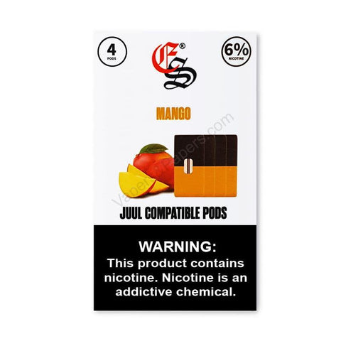 eonsmoke JUUL Compatible Pod Tanks - 4% or 6% Salt Nicotine - Mango (4 Pack) - vapersandpapers.com