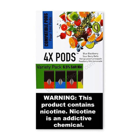 4X JUUL Compatible Pod Tanks - 6.5% Salt Nicotine - Variety Pack (4 Pack) - vapersandpapers.com