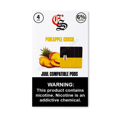 eonsmoke 1.0mL Juul Compatible Pod Tanks - 4%, 6%, 7% Salt Nicotine - Pineapple (4 Pack) DISCONTINUED -  LIMITED SUPPLY - vapersandpapers.com