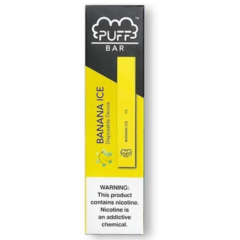 PUFF BAR 1.3mL Disposable Pod Vape - 2% or 5% Salt Nicotine - Banana Ice (1 Pack) - vapersandpapers.com