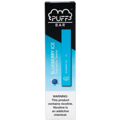 PUFF BAR 1.3mL Disposable Pod Vape - 2% or 5% Salt Nicotine - Blueberry Ice (1 Pack) - vapersandpapers.com