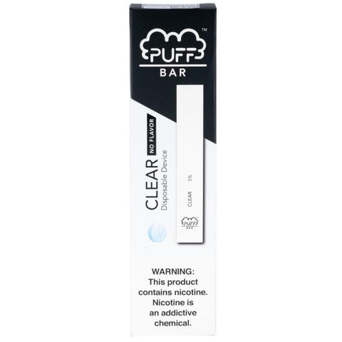 PUFF BAR 1.3mL Disposable Pod Vape - 2% or 5% Salt Nicotine - Clear (1 Pack) - vapersandpapers.com