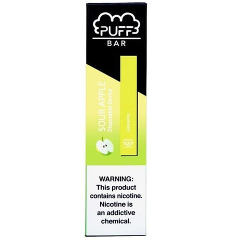 PUFF BAR 1.3mL Disposable Pod Vape - 2% or 5% Salt Nicotine - Sour Apple (1 Pack) - vapersandpapers.com