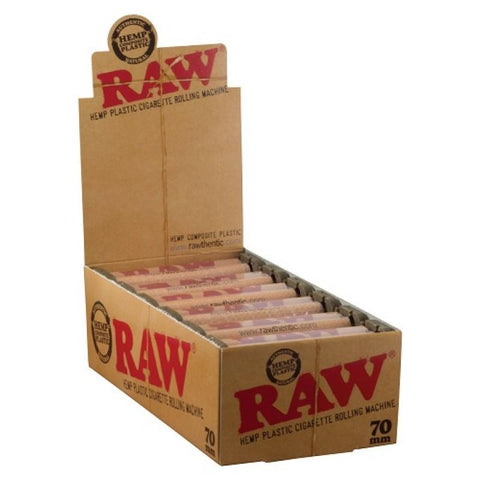 RAW Hemp Plastic 70mm Rolling Machine - 12 Count Box - vapersandpapers.com