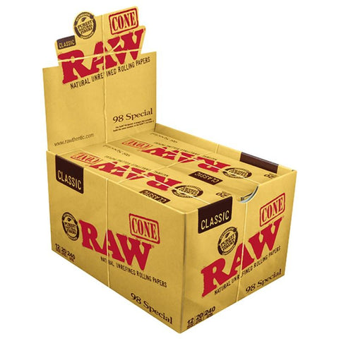RAW Classic 98 Special Pre-Rolled Cones - 12 Count Box (20 Pack) - vapersandpapers.com