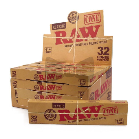 RAW Classic 1 1/4 Pre-Rolled Cones - 12 Count Box (32 Pack) - vapersandpapers.com