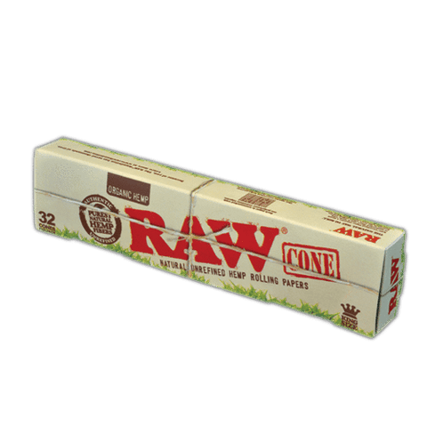 RAW Organic Kingsize Slim Pre-Rolled Cones - 32-Cones Single Pack (32 Pack) - vapersandpapers.com