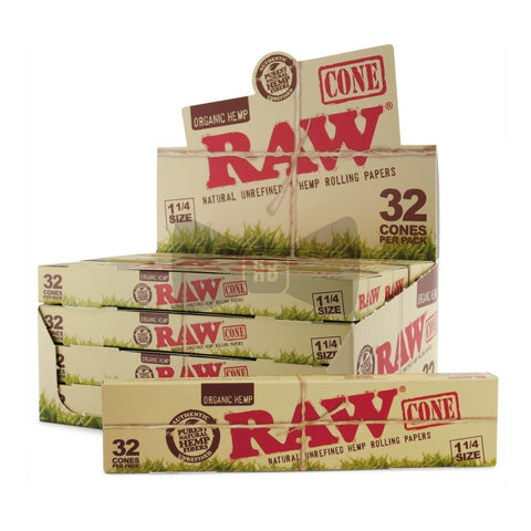 RAW Organic 1 1/4 Pre-Rolled Cones - 12 Count Box (32 Pack) - vapersandpapers.com