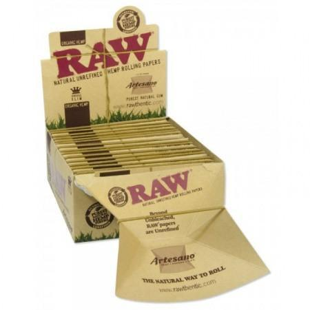 RAW Organic Artesano Kingsize Slim Rolling Paper w/ Tips & Tray - 15 Count Box - vapersandpapers.com