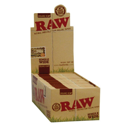 RAW Organic Single Wide Rolling Paper w/ Double Window - 25 Count Box - vapersandpapers.com