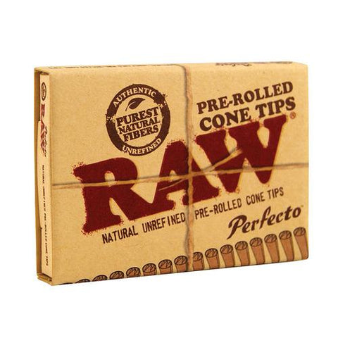 RAW Perfecto Pre-Rolled Cone Tips - 21-Tips Single Packet - vapersandpapers.com