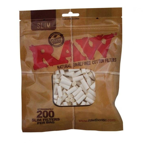 RAW Slim Cigarette Filter Tips - 15mm Cigarette Filters (200 Pack) - vapersandpapers.com