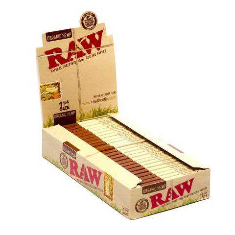 RAW Organic 1 1/4 Rolling Paper - 24 Count Box - vapersandpapers.com